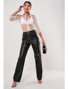 Black Faux Leather Contrast Stitch Trousers by Missguided