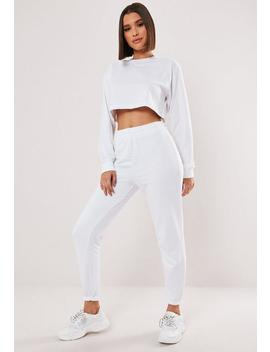 White Crop Sweater And Jogger Co Ord Set by Missguided
