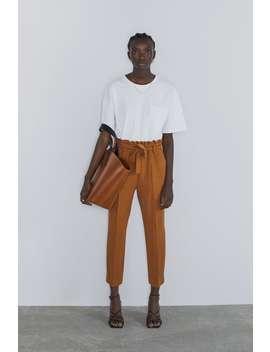 Pantalon Avec Taille PlissÉe Et Ceinture by Zara