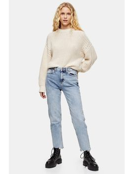 Bleach Wash Rip Hem Straight Jeans by Topshop