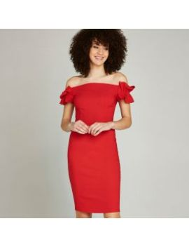 Red Bardot Ruffle Sleeve Bodycon Dress by Apricot