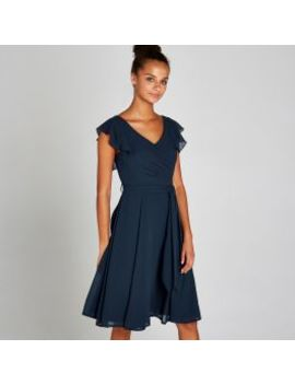 Navy Frill Shoulder Dress by Apricot