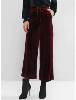 Velvet Pocket Drawstring Wide Leg Pants   Red Wine S by Zaful