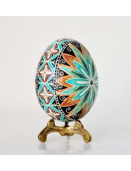 Hand Painted Ukrainian Pysanky Easter Art Eggs, Turquoise Blue Egg Ornament Most Popular Gift by Etsy