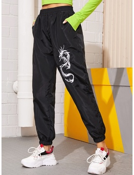 Dragon Embroidery Elastic Waist Windbreaker Pants by Sheinside