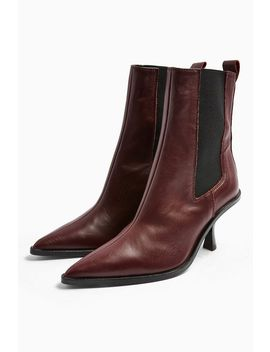 Madrid Leather Burgundy Chelsea Boots by Topshop