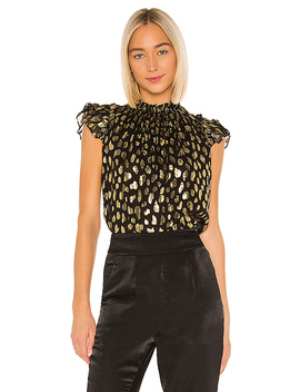 Sleeveless Leopard Metallic Top In Black Combo by Rebecca Taylor
