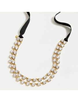 Layered Crystal Ribbon Tie Necklace by J.Crew