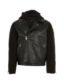 Boys Jersey Sleeve Faux Leather Biker Jacket by River Island
