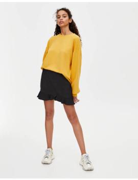 Black Basic Ruffled Mini Skirt by Pull & Bear
