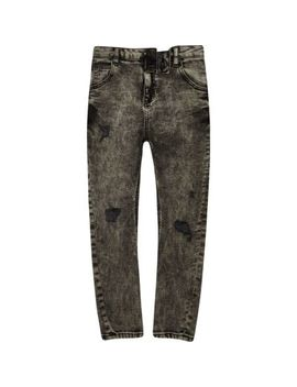 Boys Black Acid Wash Tony Tapered Slouch by River Island