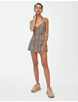Check Short Wraparound Overall Dress by Pull & Bear