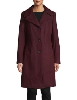 Wool Blend Button Down Coat by Anne Klein