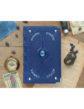 Blue Alchemist Grimoire, Blue Leather Journal, Handmade Blank Book, Witchcraft Book Of Shadows, Silver And Blue, Notebook, Blue Magic by Etsy