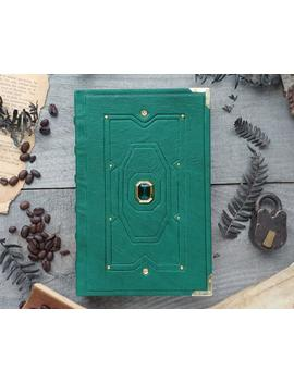 Green Stone Grimoire Of The Forgotten Kings, Green Leather Journal, Golden Blank Book, Book Of Shadows, Gold And Green, Arkenstone Dwarf by Etsy