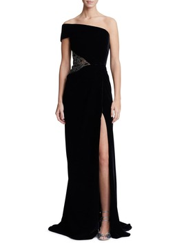 One Shoulder Velvet Gown by Marchesa