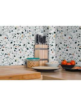 Terrazzo Pattern Wallpaper | Removable Vinyl Wallpaper | Eco Friendly Peel & Stick Wallpapers | Kitchen Interior | Home Interior Ideas by Etsy