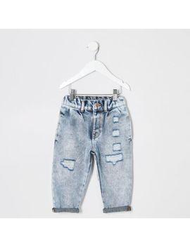 Mini Girls Light Blue Mom Acid Ripped Jeans by River Island