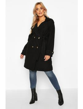 Plus Military Detail Wool Look Trench Coat by Boohoo