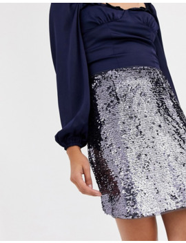 Collective The Label Mini Sequin Skirt In Pewter by Collective The Label