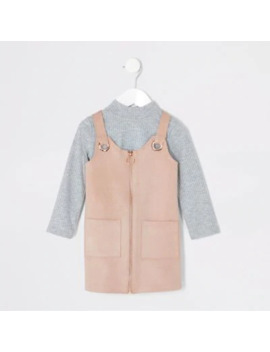 Mini Girls Pink Faux Suede Pinafore Outfit by River Island