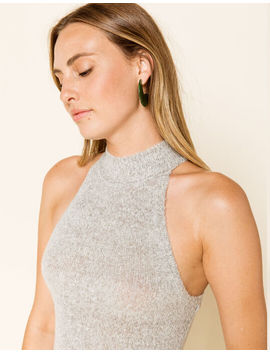 West Of Melrose Had It Up To Here Mock Neck Heather Gray Womens Tank Top by West Of Melrose