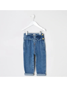 Mini Girls Blue Bow Waist Mom Jeans by River Island
