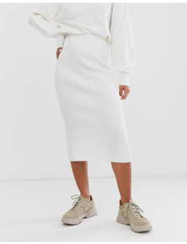 Bershka Knitted Co Ord Skirt In Cream by Bershka
