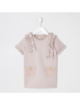 Mini Girls Pink Scuba Utility Shirt Dress by River Island