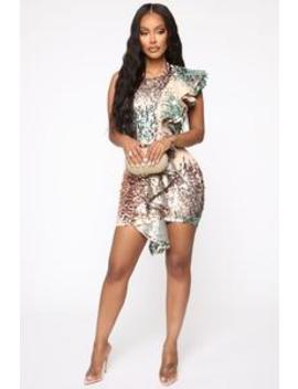 Thieves Of The Sea Sequin Ruffle Dress   Rose Gold by Fashion Nova