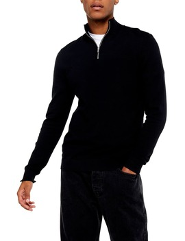 Classic Fit Quarter Zip Mock Neck Sweater by Topman