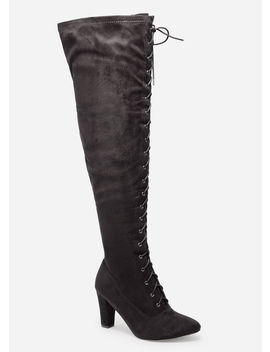 Lace Up Thigh High Wide Width Boots by Ashley Stewart
