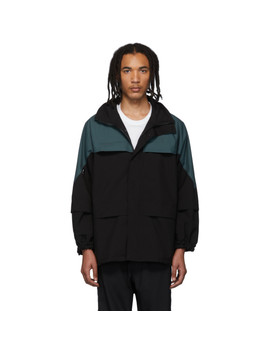 Black & Green Border Parka Jacket by Affix