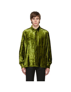 Green Crushed Velvet Long Shirt by Ami Alexandre Mattiussi