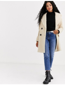 Miss Selfridge Longline Teddy Coat In Cream by Miss Selfridge
