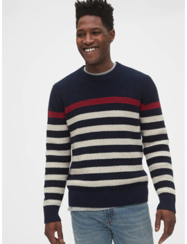 Waffle Stitch Chest Stripe Crewneck Sweater by Gap