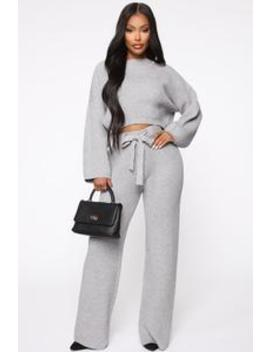 In Knit To Win It Sweater Set   Heather Grey by Fashion Nova