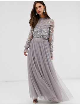 Needle & Thread Dotted Tulle Maxi Skirt In Grey by Needle & Thread