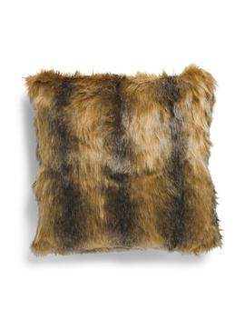 20x20 Faux Fur Cognac Stripe Pillow by Tj Maxx
