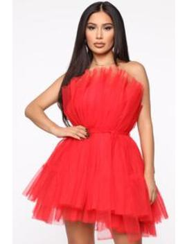 Exclusive Tulle Mini Dress   Red by Fashion Nova