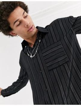 Jaded London Metallic Pinstripe Long Sleeve Shirt In Black by Jaded London