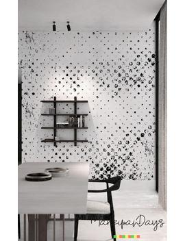 Grunge Dots Wallpaper    Black And White Wall Mural, Polka Dots Wallpaper, Removable Wallpaper, Peel And Stick Wall Decor, Minimalist #38 by Etsy