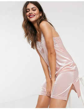 Lindex Viola Velvet Slip Dress In Pale Pink by Lindex