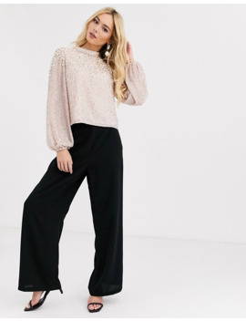 Miss Selfridge High Neck Top With Embellishment In Pink by Miss Selfridge