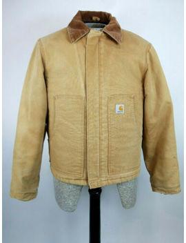 Vintage Carhartt Chore Field Coat Barn Jacket Heavy Canvas Tan Mens Small by Carhartt