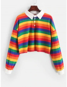 Hot Contrast Striped Rainbow Half Button Crop Sweatshirt   Multi A M by Zaful