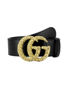 Gg Marmont Textured Logo Buckle Leather Belt by Gucci