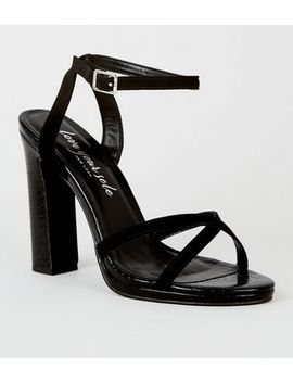 Black Faux Croc 2 Part Platform Heels by New Look