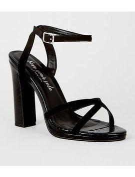 Black Faux Croc 2 Part Platform Heels by New Look
