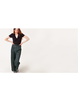 Black And Green Spot Allanah Wide Leg Trouser        Boom!You're With Us Now. by Nobody's Child